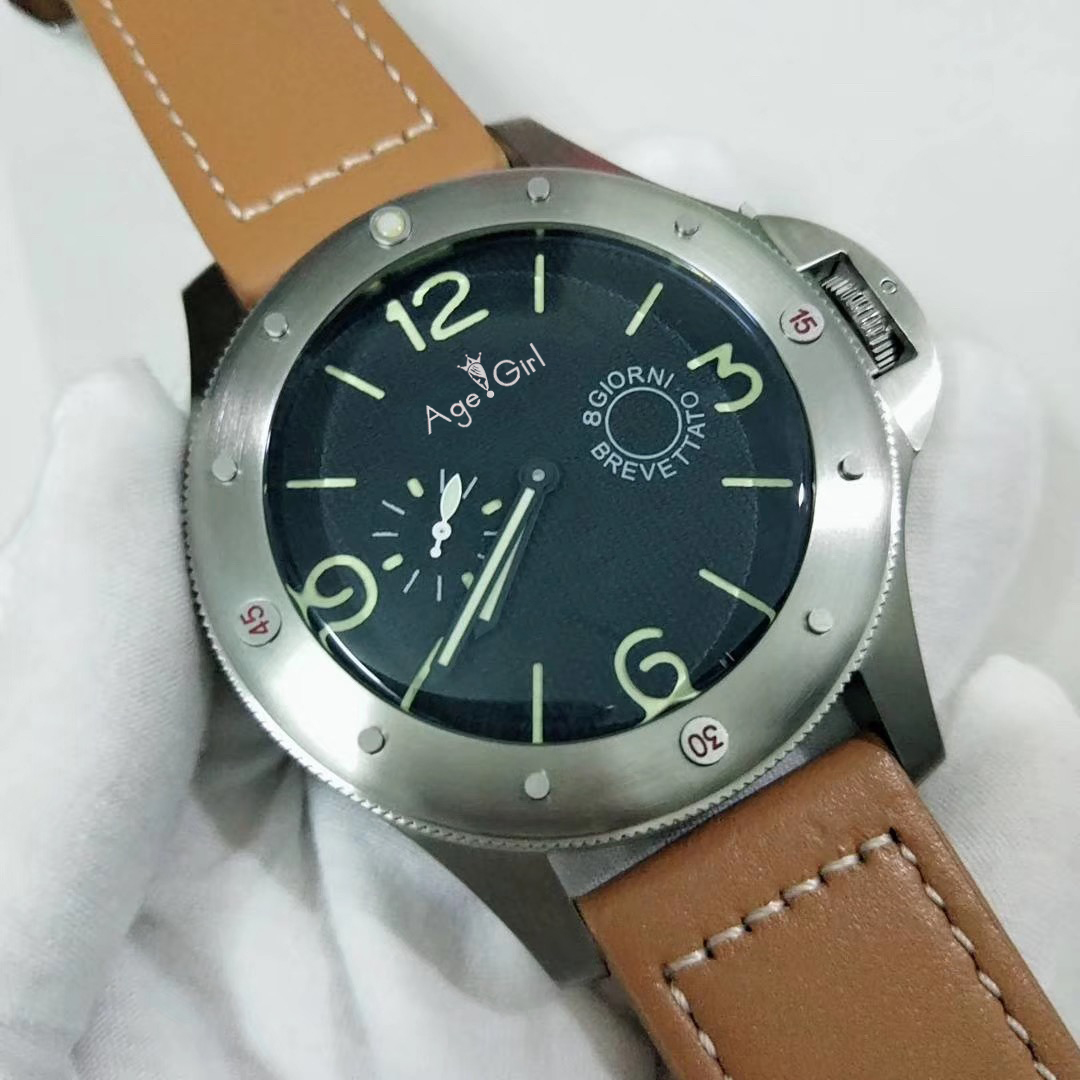 Limited Big Size 60mm Luxury Brand New Men Automatic Mechanical Sapphire Stainless Steel Green Luminous Brown Leather Watch AAA+