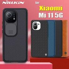 for Xiaomi Mi 11 Mi11 5G Case Nillkin Slide Camera Protect Lens Nylon Fiber Textured Frosted PC Genunie Flip Leather Cover Funda