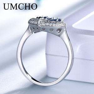 Image 4 - UMCHO S925 Sterling Silber Ringe für Frauen Nano Sapphire Ring Edelstein Aquamarin Kissen Romantische Geschenk Engagement Schmuck