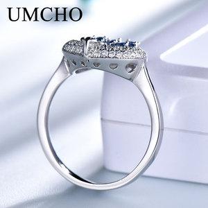 Image 4 - UMCHO  S925 Sterling Silver Rings for Women Nano Sapphire Ring Gemstone Aquamarine Cushion  Romantic Gift Engagement Jewelry