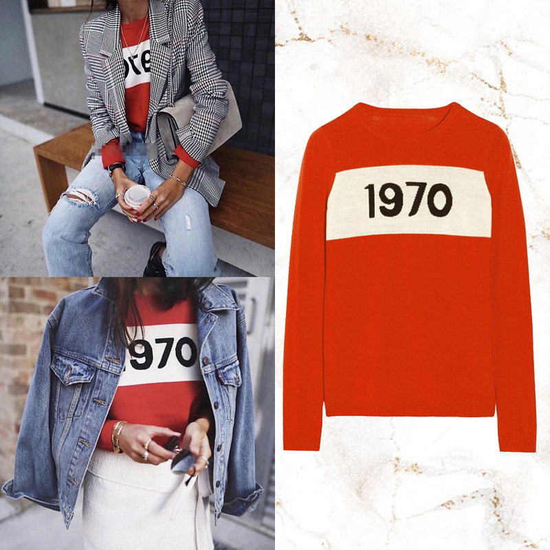 2019 Early Spring Sweater White Bars 1970 Simple-Style Pullover Sweater Fashionable Versatile Star Celebrity Style WOMEN'S Knitt