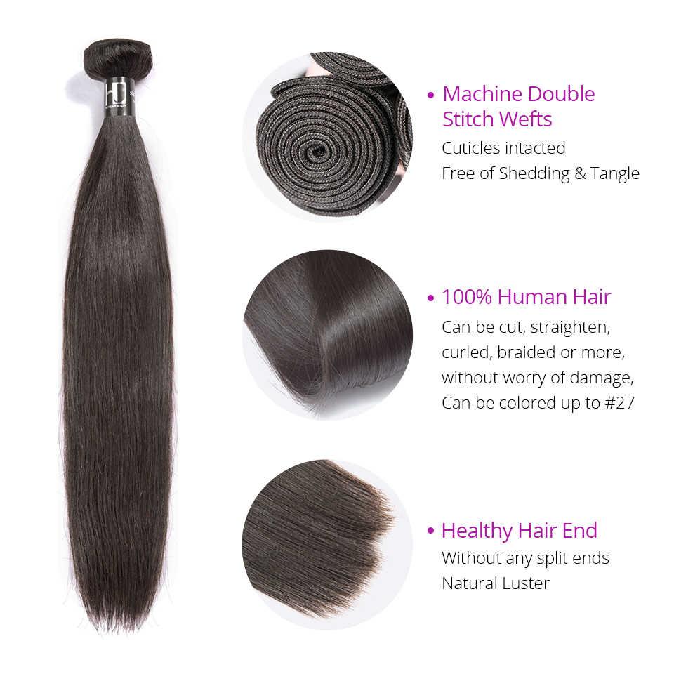 ברזילאי שיער Weave חבילות ישר 7A רמי שיער 8-36 38 40 אינץ שיער טבעי חבילות 1/3/4 pcs שיער הארכת HJ Weave יופי
