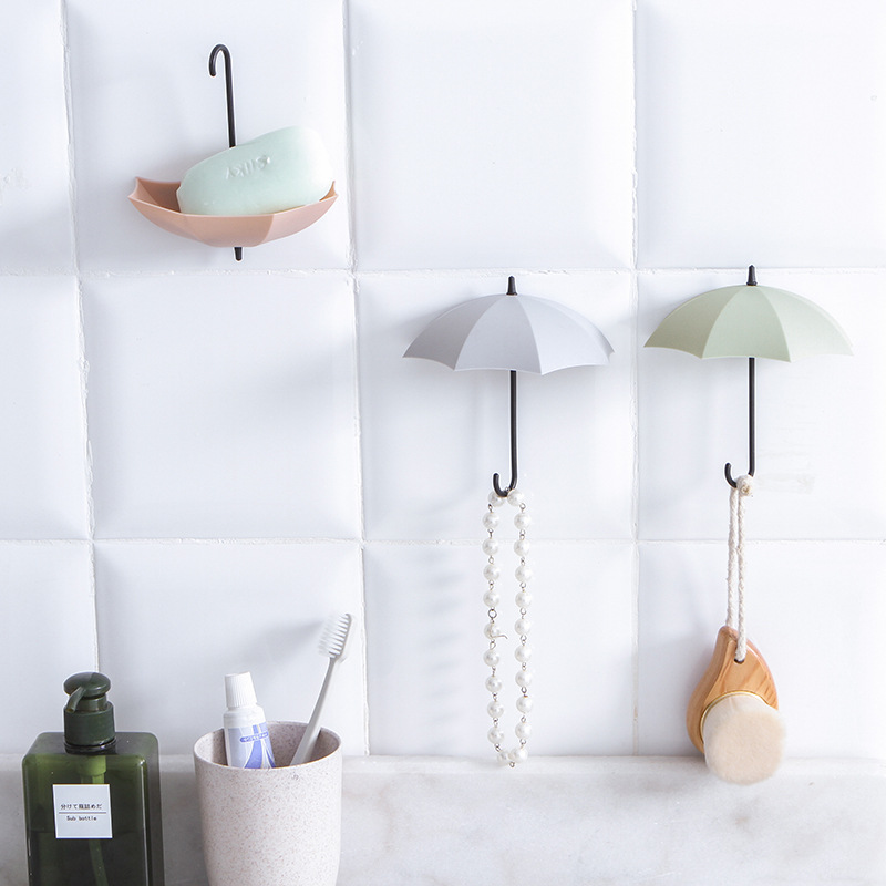 3 Cute Creative Umbrella-shaped Key Hooks Home Decoration Rack Kitchen Pendant Wall Hanging Bathroom Accessories Gadget Hook