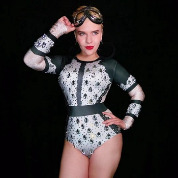 Sparkly Big Silver Crystals Bodysuit Women Skinny Leotard Nightclub Party Outfit Female Bar Stage Dance Costume Celebrate Dress