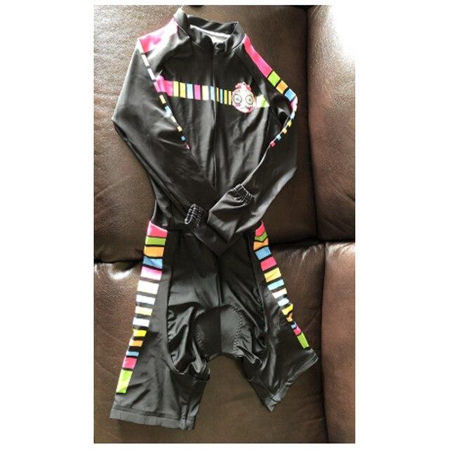 Das mulheres longas calças Ciclismo Skinsuit Maillot Ropa ciclismo Triathlon curto de Manga comprida Casal Bicicleta Jersey define Macacão 5