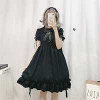 2019 black lolita dress women kawaii girls cute bowtie hight waist cosplay costume long ruffle short sleeve dress