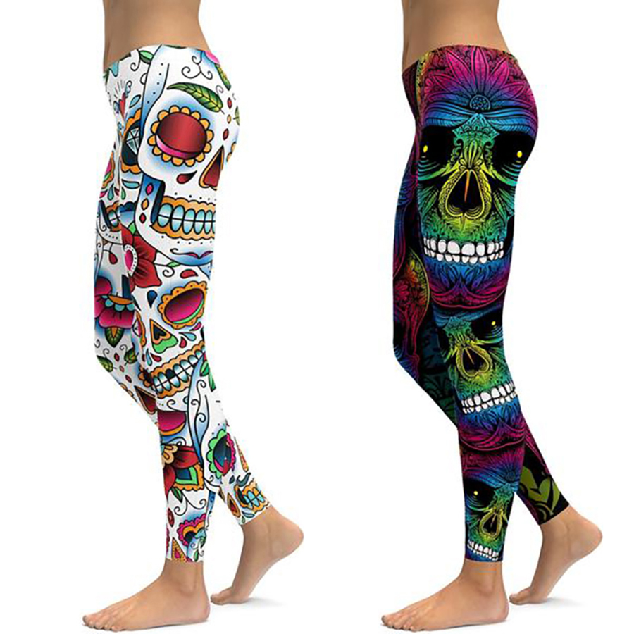 Skull Print Women Fitness Leggings Workout High Waist Sports Running Leggings Sexy Push Up Gym Wear Elastic Slim Pants