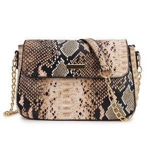 Image 2 - Bolso cruzado con estampado de serpiente para mujer, bandolera femenina de plata 2020, pequeño bolso de mano de cuero PU, cruzado Vintage