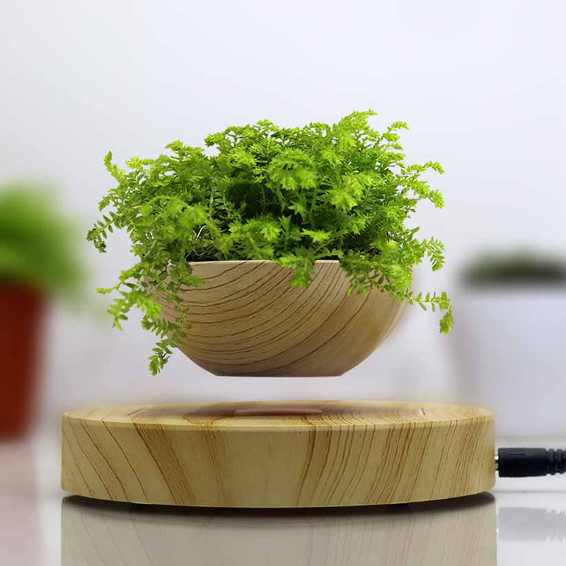 <font><b>Magnetic</b></font> Levitation Air Bonsai Suspension Levitating <font><b>Flower</b></font> <font><b>Pot</b></font> Plant LED Living Room Tabletop Decor BDF99 image