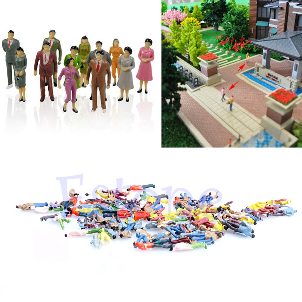 Nice 100x 1:100 Building Layout Model People Train HO Scale Painted Figure Passenger