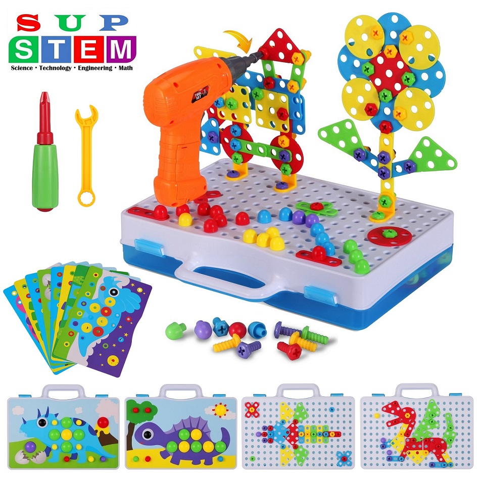 Electric Drill Puzzle Screwing Blocks Toy Creative Design Educational Toys Assembled Blocks Set Kids Boy Gift 224PCS Accessories