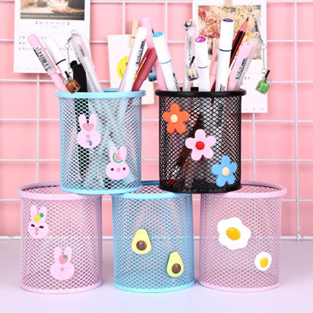Cartoon Cute Round Pen Holder Metal Mesh Hollow Pencil Organizer Storage Container For School Supplies Students Stationery #M2