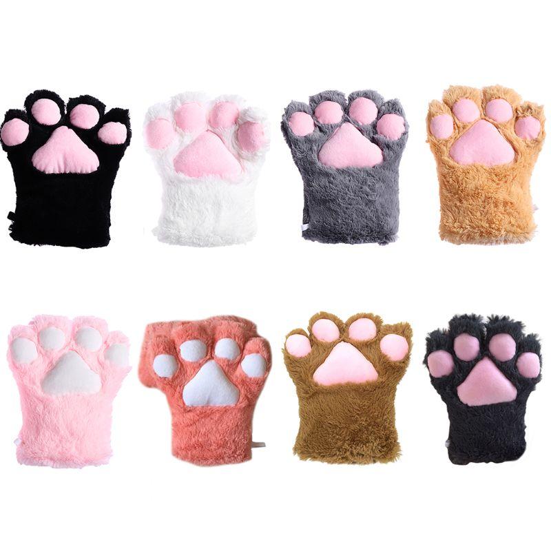 Women Girls Cute Bear Cat Paw Gloves Winter Warm Thick Fluffy Plush Cartoon Animal Anime Lolita Cosplay Mittens