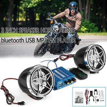 Universal 1set 12V Motorcycle Audio Sound System Stereo USB MP3 FM Player bluetooth Speaker Radio 3inch 10Wx2 with controller