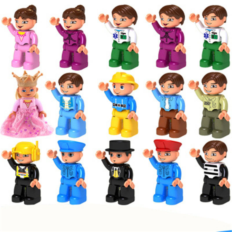 Action Figures Big Size Toy City Princess Pirate Policemen Family Series Building Blocks Compatible Brand Duploes Education Toy