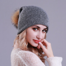 Dual Use Beanie Hat for Women Winter Cashmere Knitted and Scarf with Raccoon Pompom Autumn Warm Wool Beanies Ladies