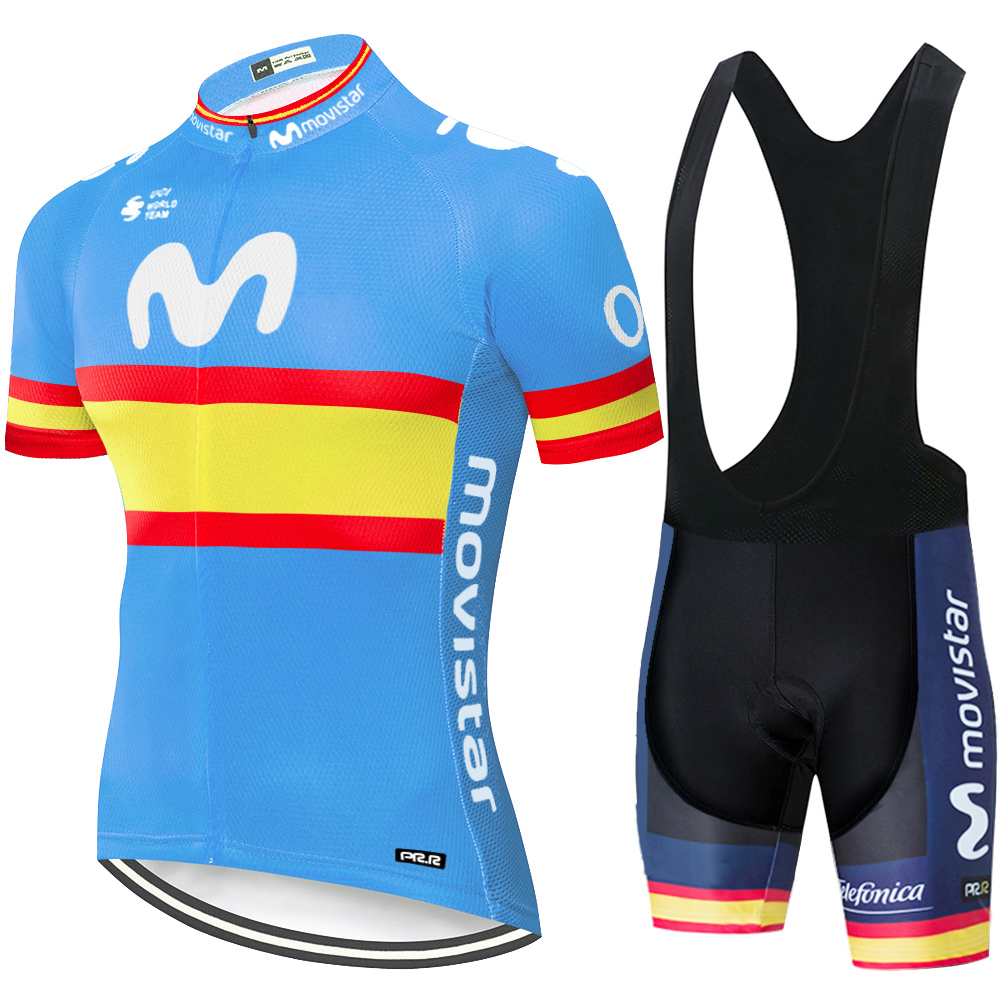 2020 Team Movistar Cycling Jersey Men Cycling Set Maillot Ropa Ciclismo Jersey Men Summer Bike Jersey Set Bike Bicycle Wear MTB