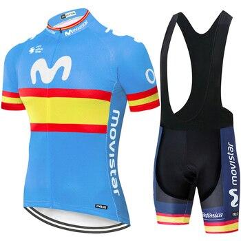 Conjunto de Ropa de Ciclismo DEL EQUIPO Movistar para hombre, Maillot, camisetas...