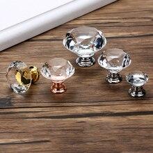 Wardrobe Handles Hardware Drawer Pull Cupboard Glass-Knobs Cabinet-Door Crystal Diamond-Shape