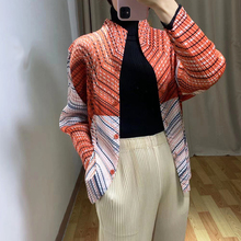 Spring stripe print women's coat Pleated Coats Raglan Sleeve Single-Breasted Stand Collar Cardigan