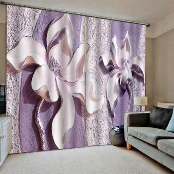 Purple curtains louts curtain 3D Curtain Luxury Blackout Window Curtain Living Room relief Decoration curtains
