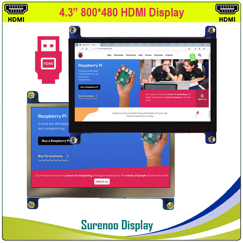 4.3 4.3 inch 800*480 TFT HDMI USB Capacitive Touch Panel LCD Module Display Monitor Screen for Raspberry Pi image