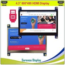 "4.3 ""4.3 polegada 800*480 tft hdmi usb capacitivo painel de toque lcd módulo display monitor tela para raspberry pi"