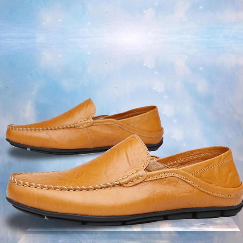 2019 แฟชั่นหนังผู้ชายรองเท้าสบายๆแบนชายรองเท้ากันน้ำ Breathable Loafers ของแท้หนังสบาย