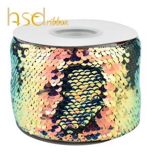 Image 2 - HSDRibbon 3 אינץ 75mm חדש נצנצים בד הפיך גליטר נצנצים סרט 25 חצרות/רול