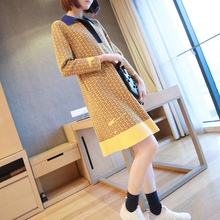 M-XXL Plus Size Print Striped Knitted Sweater Yellow Dress Women Turn Down Collar Rainbow Dress Women Winter Fall Dress Ladies s xxl plus size corset blue knitted sweater dress women turn down collar casual elegant dress women midi long sleeve dresses