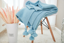 130 x 170cm Nordic Fringed Knit Ball Blanket Pineapple Pendant Sofa Child Baby Home Travel Camping Living Room