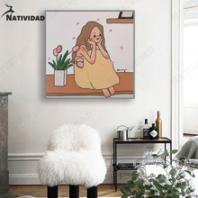 Korean Style Simple Cartoon Comics Gentle Girl Bedroom Room Decor Art Wall Poster Modern Aesthetic Room Decor Wall Decor