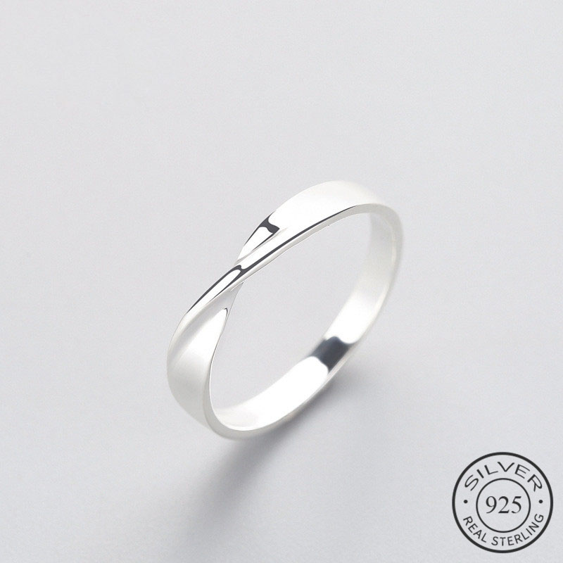 OL Minimalist Geometric Wave Ring Real 925 Sterling Silver Fine Jewelry For Charm Women Birthday Party Accessories Gift