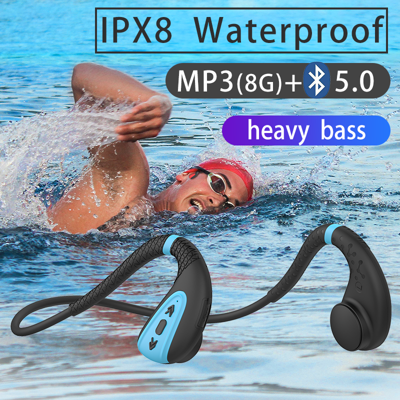 ddj Q1 Bone conduction Headphone Built-in memory 8G IPX8 Waterproof MP3 Music Player Swimming Diving Earphone 15 days standby