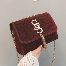 Ins fashion simple tassel Small Square Bag female designer Handbag Hgh Quality PU Leather Chain mobile Women phone Shoulder Bag недорого