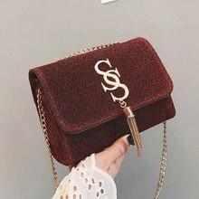 Ins moda simple borla pequeña bolsa cuadrada mujer diseñador bolso Hgh calidad cuero PU cadena móvil mujer bolso de hombro