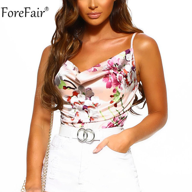 Forefair Spaghetti Strap Flower Print Top Satin Sexy Summer Party Women Cami Sleeveless Backless Fashion Ladies Clothes 2