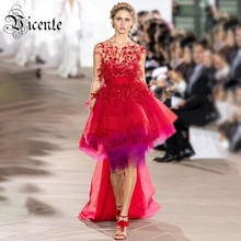 VC All Free Shipping Chic Red Feather Design Cascading Ruffles Sashes Floor Length Celebrity Party Maix Long Dress