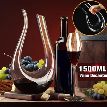1500ml U Shaped Crystal Glass Horn Red Wine Decanter Wine Pourer