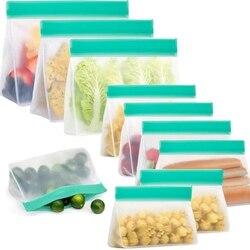 10 PACK Stand-Up wielokrotnego użytku torby na kanapki  torebki na przekąski wielokrotnego użytku  torby samoprzylepne PEVA  torby na przekąski  owoce (Stereo)