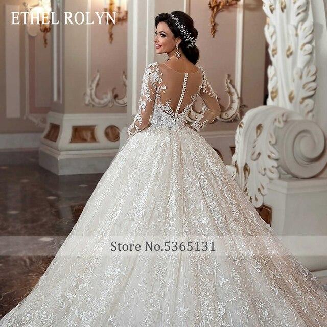 ETHEL ROLYN Lace Ball Gown Wedding Dress 2021 Long Sleeve Beading Appliques Vintage Bridal Princess Bride Dresses Robe De Mariee 5