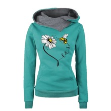 Fall Fashionable Loose Embroidery Hoodies Women Cotton Winter Pullovers Clothes Black Casual Floral Hoodie