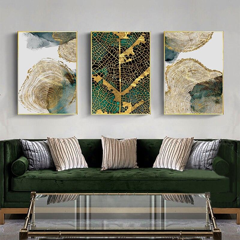 Современная Абстрактная Картина на холсте Золотая зеленая текстура листьев скандинавские плакаты и принты настенные картины для гостиной домашний декор