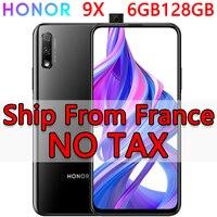 هاتف Honor 9X 6GB 128GB في المخزون من فرنسا بنظام أندرويد 9.0 ثماني النواة 6.59 بوصة أزرق وأسود