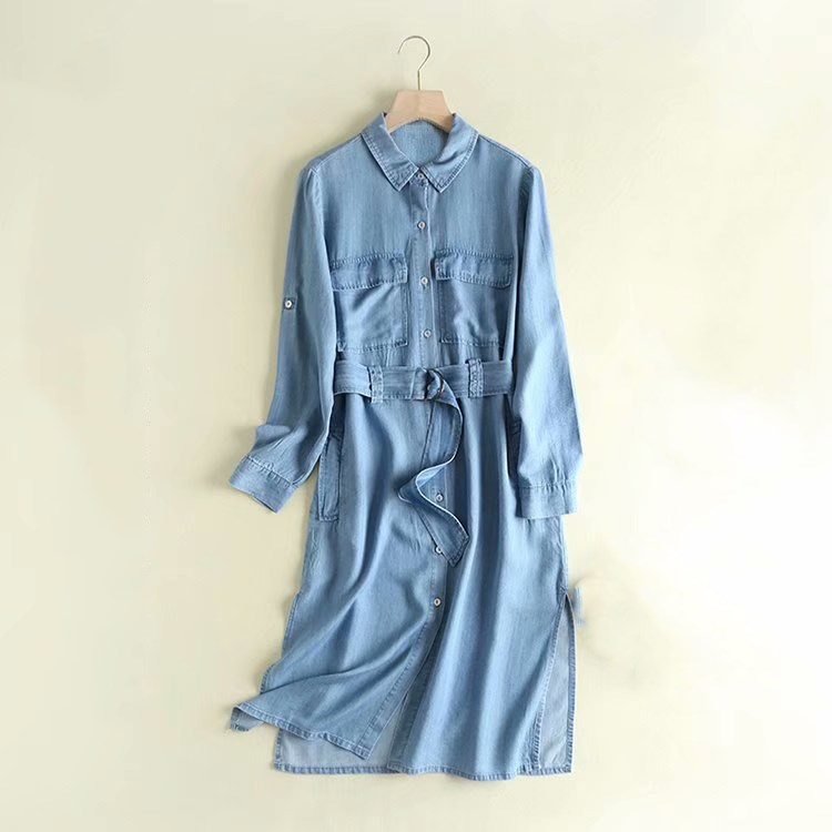 Autumn Casual Denim Long Coat Pockets Women Belt Pocket Long Sleeve Overcoat Light Blue Denim   Trench