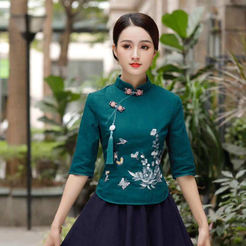 Sheng Coco Traditionele Shirts Dames Vlinder Geborduurd Kwasten Blouse Qipao Tops Chinese Stijl Midden Blouse