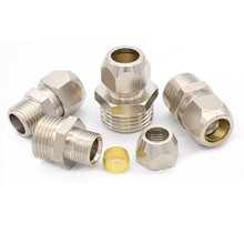 цена на 1/8 1/4 3/8 1/2 BSP Male Thread 4 6 8 10 12 14 16mm OD Tube brass Ferrule Tube Compression Fitting Connector