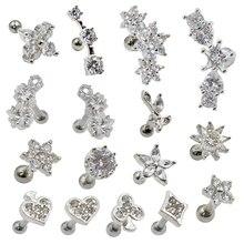 Ear Stud Barbell Piercing Sexy Jewelry Flower-Conch Lobe-Earrings Ear-Tragus Helix Crystal