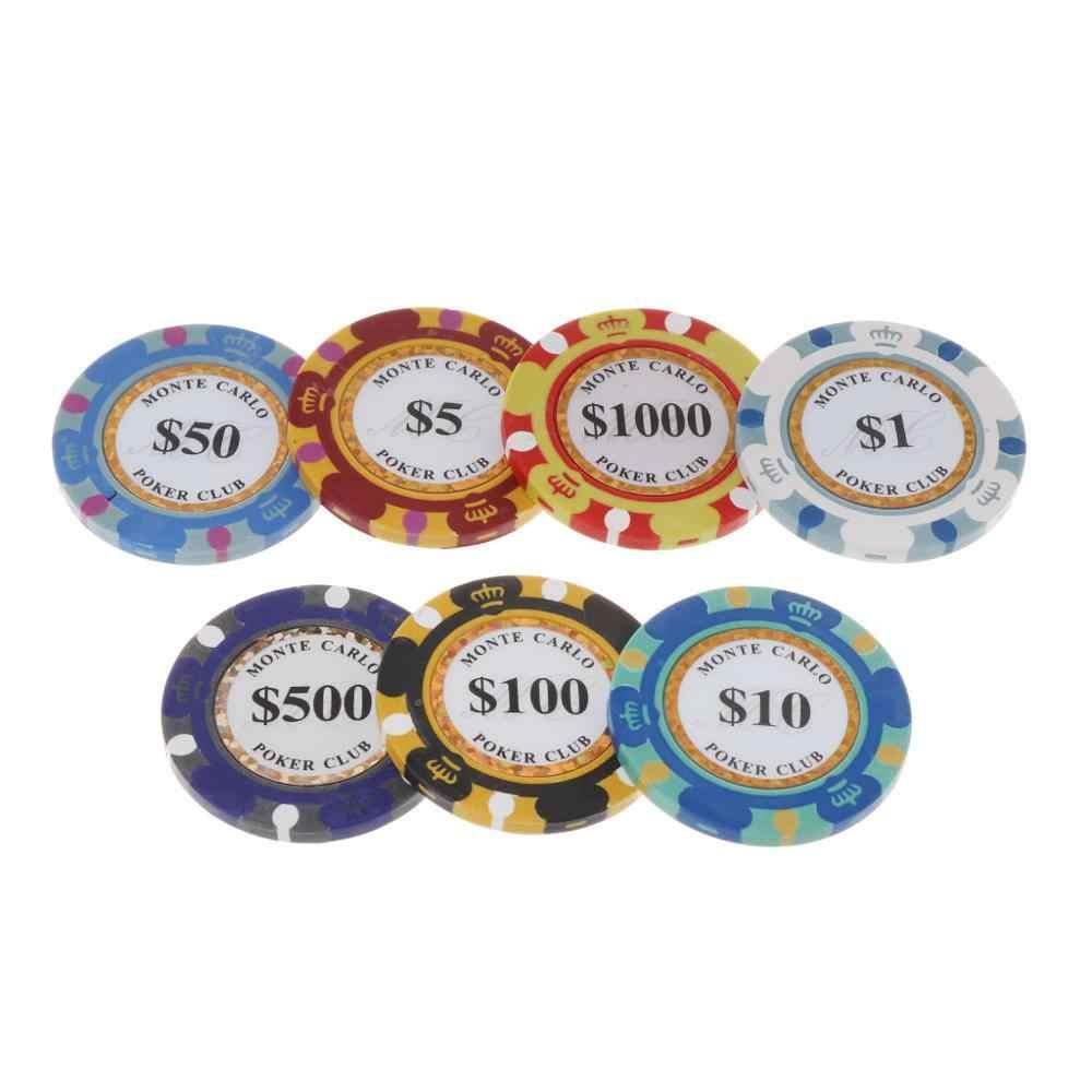 5pcs Moedas Casino Fichas De Poker da Argila 14g Texas Hold'em Baccarat Protetor Cartão 4cm