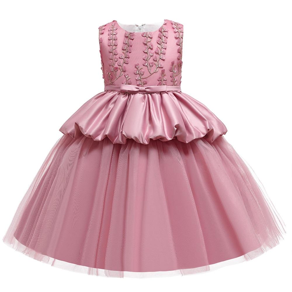 New High-end Kids Cake Tutu Flower Girls Dress Children Party Wedding Formal Dresess for Girl Princess First Communion Costume